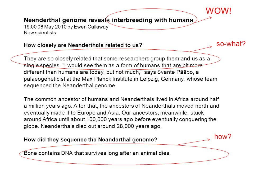 Neanderthal genome reveals interbreeding with humans 19:00 06 May 2010 by Ewen Callaway New scientists How closely are Neanderthals related to us.