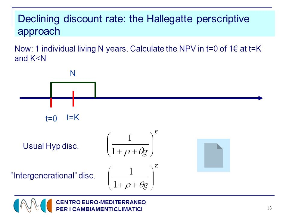 CENTRO EURO-MEDITERRANEO PER I CAMBIAMENTI CLIMATICI 18 Declining discount rate: the Hallegatte perscriptive approach t=0 t=K N Now: 1 individual living N years.