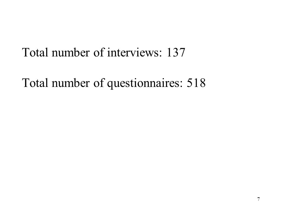 7 Total number of interviews: 137 Total number of questionnaires: 518