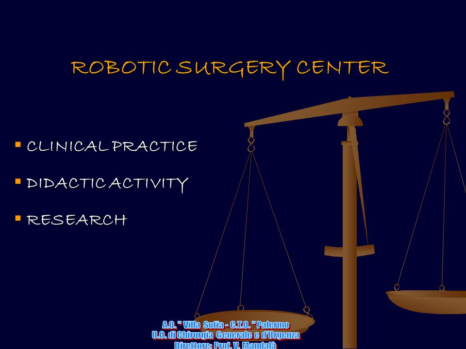 ROBOTIC SURGERY CENTER CLINICAL PRACTICE DIDACTIC ACTIVITY DIDACTIC ACTIVITY RESEARCH RESEARCH