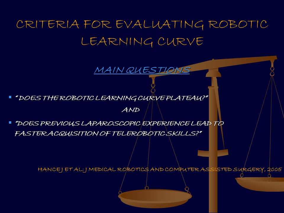 CRITERIA FOR EVALUATING ROBOTIC LEARNING CURVE MAIN QUESTIONS DOES THE ROBOTIC LEARNING CURVE PLATEAU.