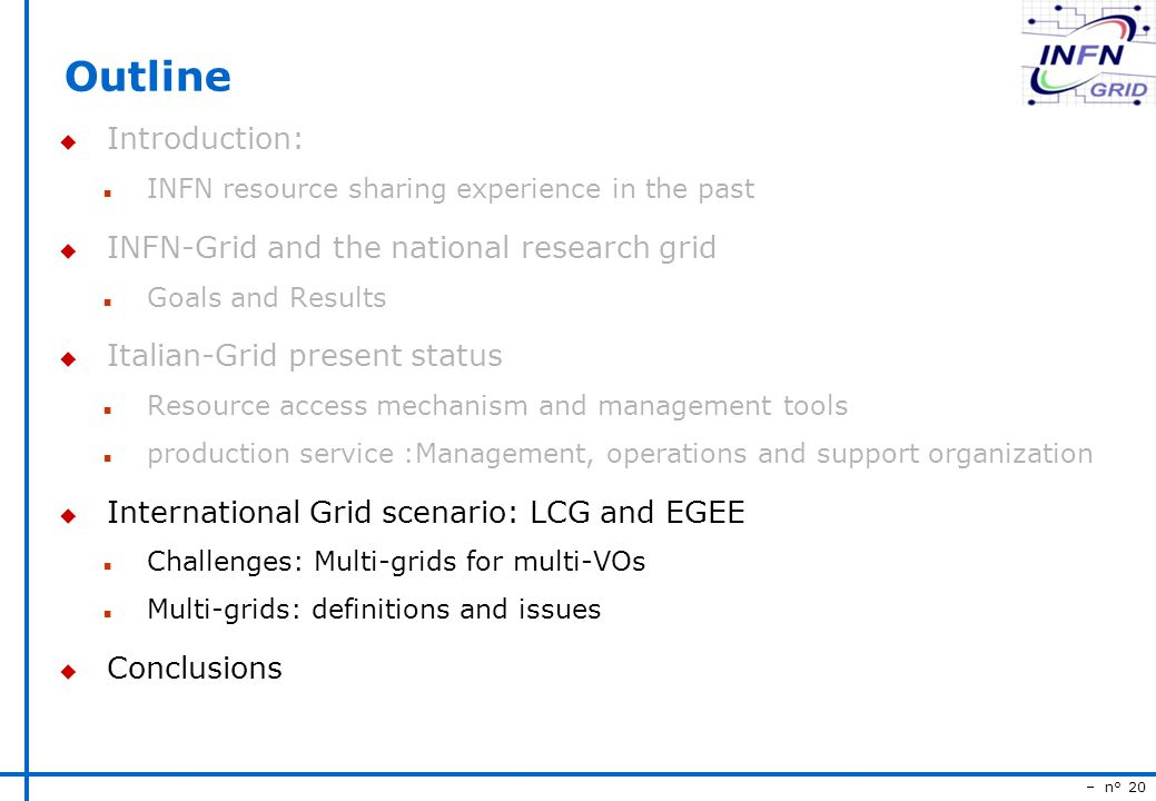 – n° 20 Outline u Introduction: n INFN resource sharing experience in the past u INFN-Grid and the national research grid n Goals and Results u Italian-Grid present status n Resource access mechanism and management tools n production service :Management, operations and support organization u International Grid scenario: LCG and EGEE n Challenges: Multi-grids for multi-VOs n Multi-grids: definitions and issues u Conclusions