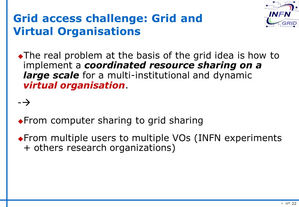 – n° 22 Grid access challenge: Grid and Virtual Organisations u The real problem at the basis of the grid idea is how to implement a coordinated resource sharing on a large scale for a multi-institutional and dynamic virtual organisation.