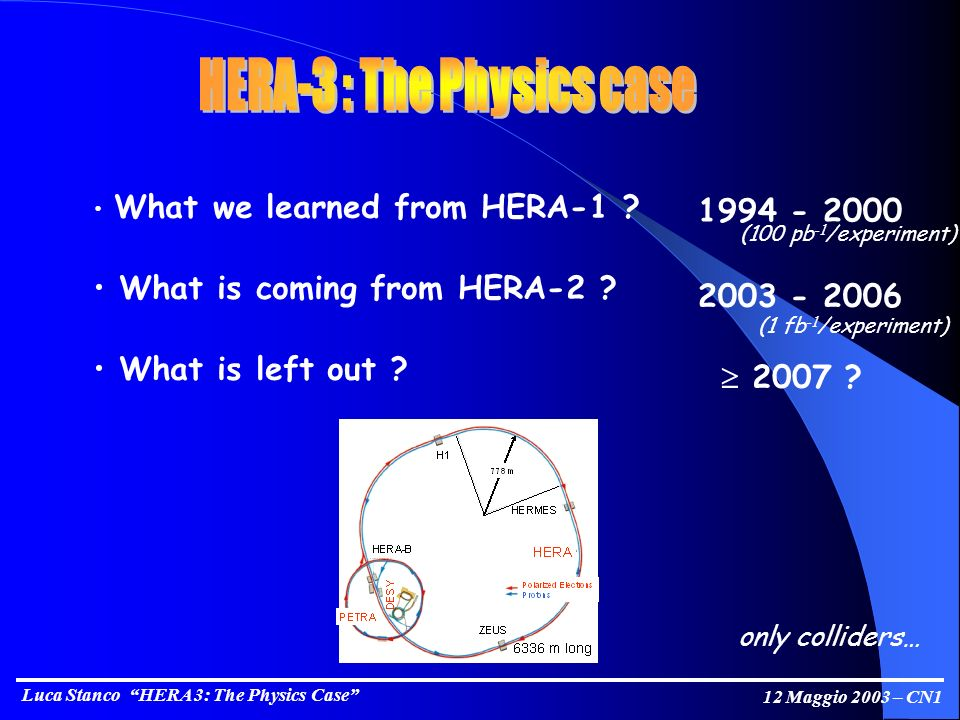 Luca Stanco HERA 3: The Physics Case 12 Maggio 2003 – CN1 What we learned from HERA-1 .