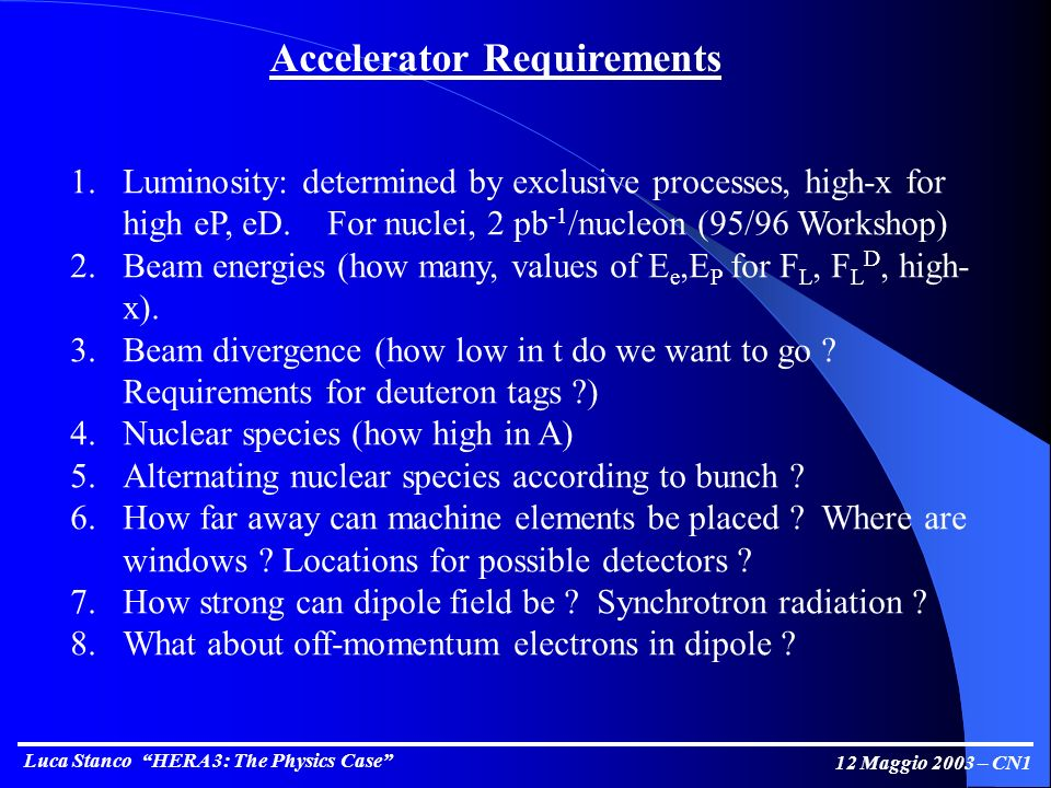 Luca Stanco HERA 3: The Physics Case 12 Maggio 2003 – CN1 Accelerator Requirements 1.Luminosity: determined by exclusive processes, high-x for high eP, eD.