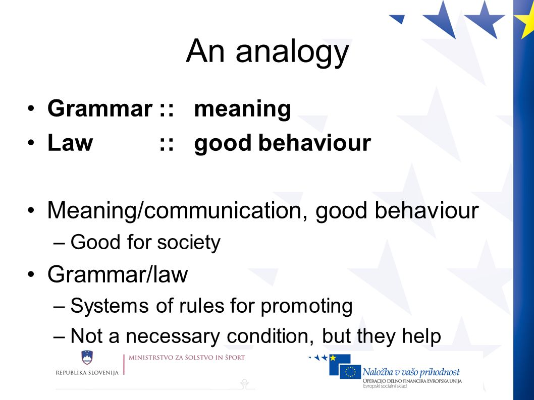 An analogy Grammar :: meaning Law :: good behaviour Meaning/communication, good behaviour –Good for society Grammar/law –Systems of rules for promoting –Not a necessary condition, but they help