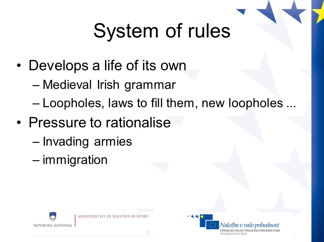 System of rules Develops a life of its own –Medieval Irish grammar –Loopholes, laws to fill them, new loopholes...