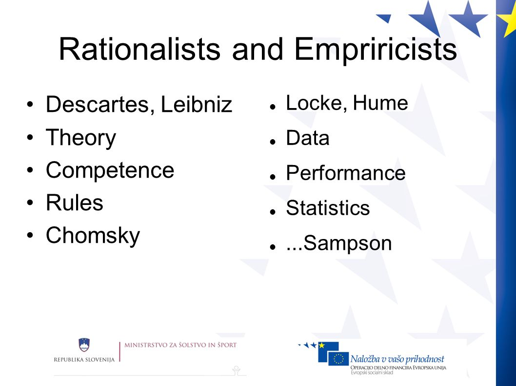 Rationalists and Empriricists Descartes, Leibniz Theory Competence Rules Chomsky Locke, Hume Data Performance Statistics...Sampson