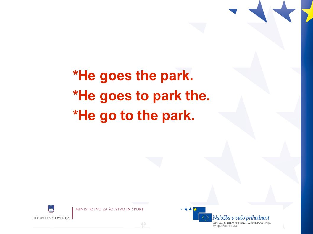 *He goes the park. *He goes to park the. *He go to the park.