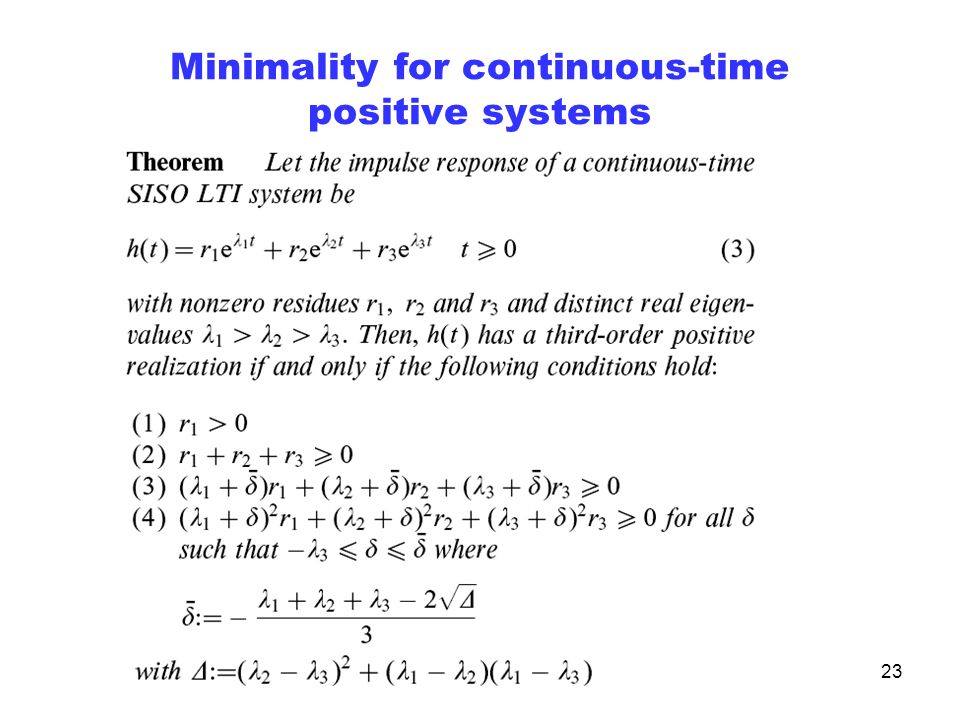 23 Minimality for continuous-time positive systems