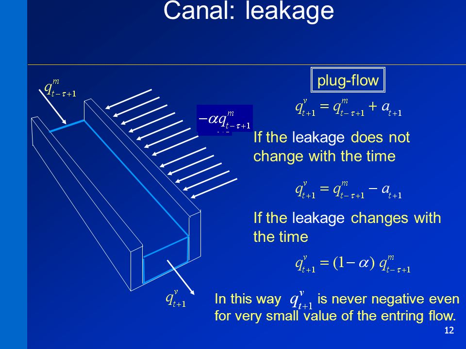 12 Canal: leakage If the leakage does not change with the time If the leakage changes with the time In this way is never negative even for very small value of the entring flow.
