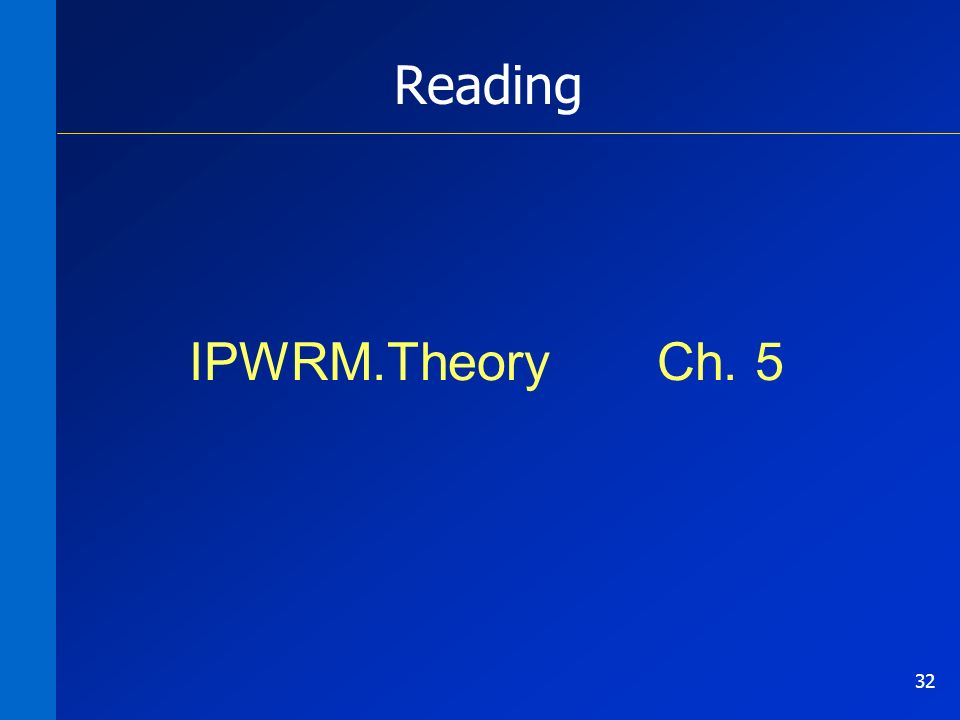 32 Reading IPWRM.Theory Ch. 5