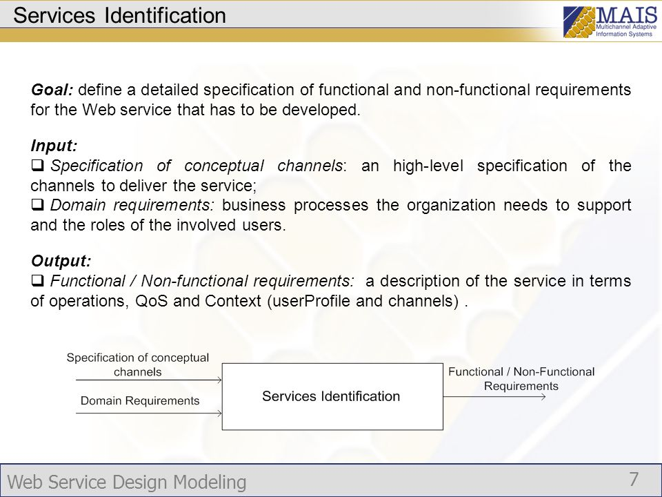 Web Service Design Modeling 7 Services Identification Goal: define a detailed specification of functional and non-functional requirements for the Web service that has to be developed.