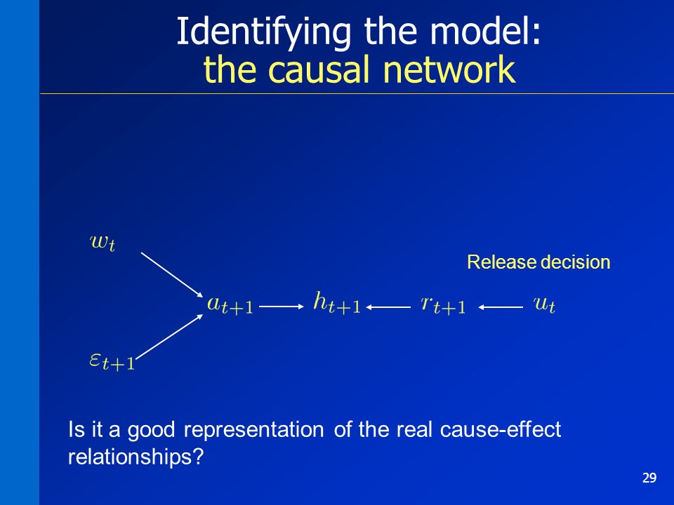 29 Identifying the model: the causal network Is it a good representation of the real cause-effect relationships.
