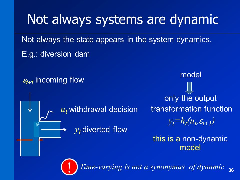 36 Not always systems are dynamic Not always the state appears in the system dynamics.