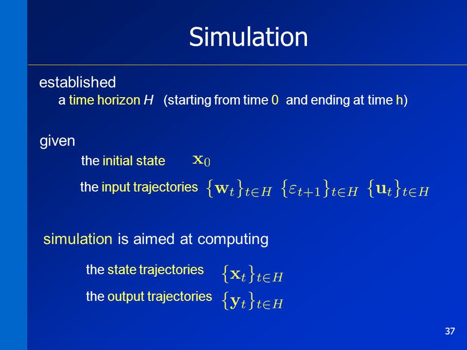 37 Simulation simulation is aimed at computing established a time horizon H (starting from time 0 and ending at time h) given the initial state the input trajectories the state trajectories the output trajectories