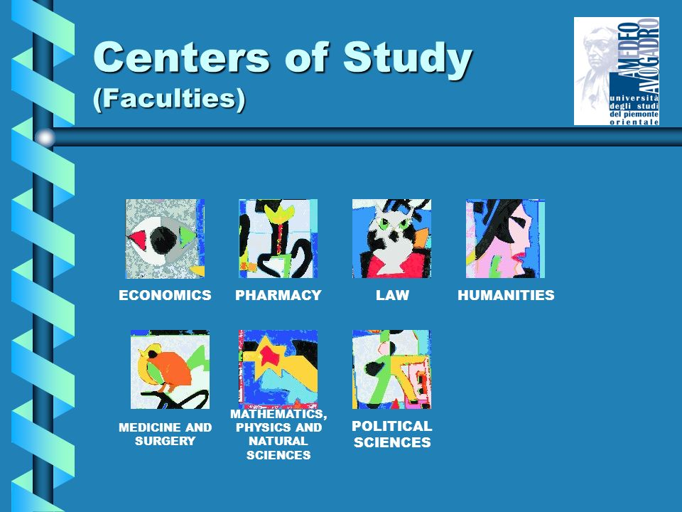Centers of Study (Faculties) ECONOMICSPHARMACYLAWHUMANITIES MEDICINE AND SURGERY MATHEMATICS, PHYSICS AND NATURAL SCIENCES POLITICAL SCIENCES