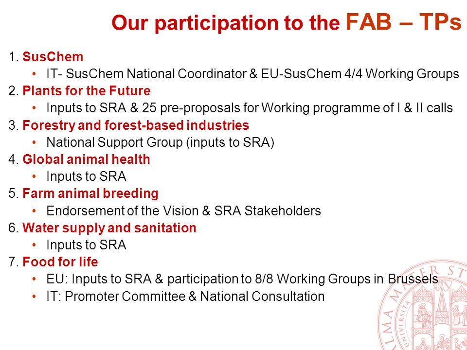 Our participation to the FAB – TPs 1.