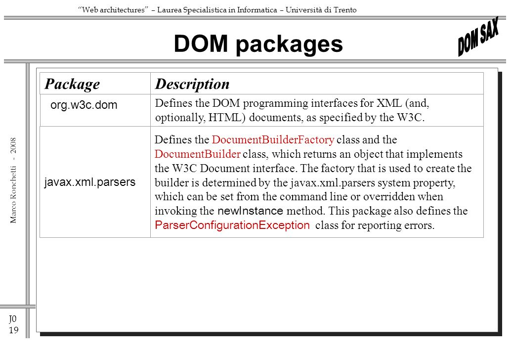 J0 19 Marco Ronchetti - Web architectures – Laurea Specialistica in Informatica – Università di Trento DOM packages PackageDescription org.w3c.dom Defines the DOM programming interfaces for XML (and, optionally, HTML) documents, as specified by the W3C.