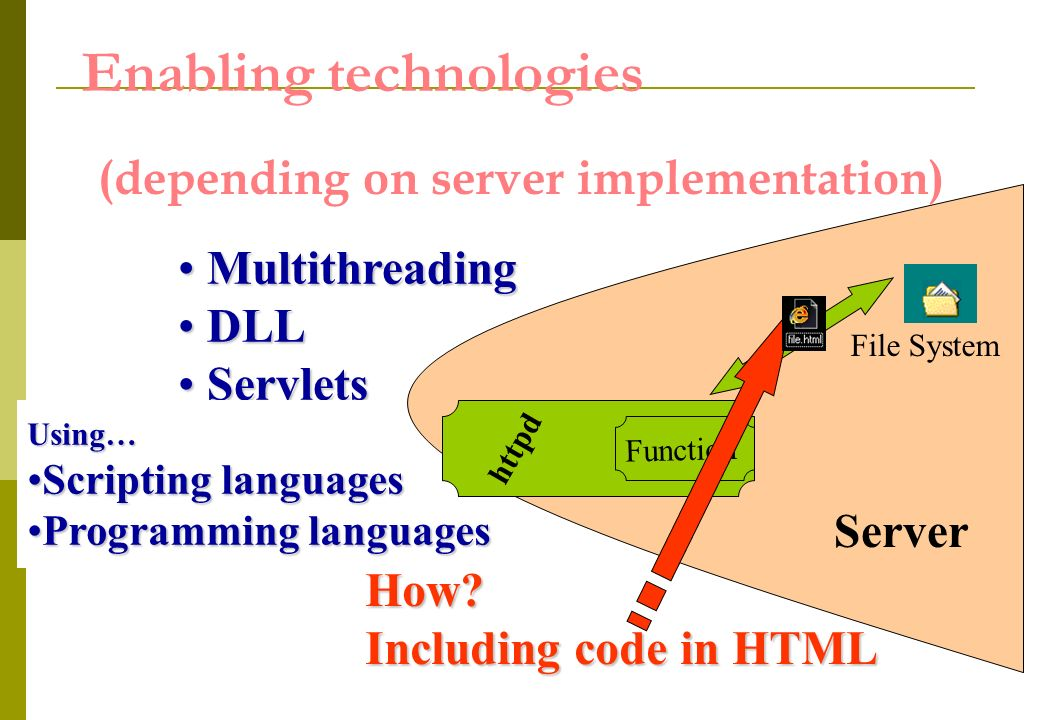 Enabling technologies Multithreading Multithreading DLL DLL Servlets Servlets Using… Scripting languagesScripting languages Programming languagesProgramming languages Function httpd Server How.