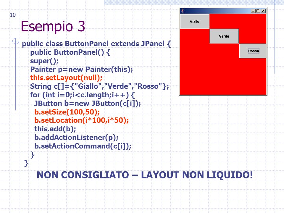10 Esempio 3 public class ButtonPanel extends JPanel { public ButtonPanel() { super(); Painter p=new Painter(this); this.setLayout(null); String c[]={ Giallo , Verde , Rosso }; for (int i=0;i<c.length;i++) { JButton b=new JButton(c[i]); b.setSize(100,50); b.setLocation(i*100,i*50); this.add(b); b.addActionListener(p); b.setActionCommand(c[i]); } NON CONSIGLIATO – LAYOUT NON LIQUIDO!