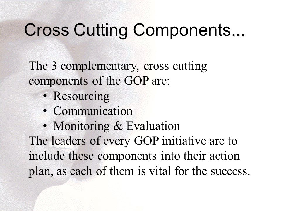 … Cross Cutting Components … The 3 complementary, cross cutting components of the GOP are: Resourcing Communication Monitoring & Evaluation The leaders of every GOP initiative are to include these components into their action plan, as each of them is vital for the success.