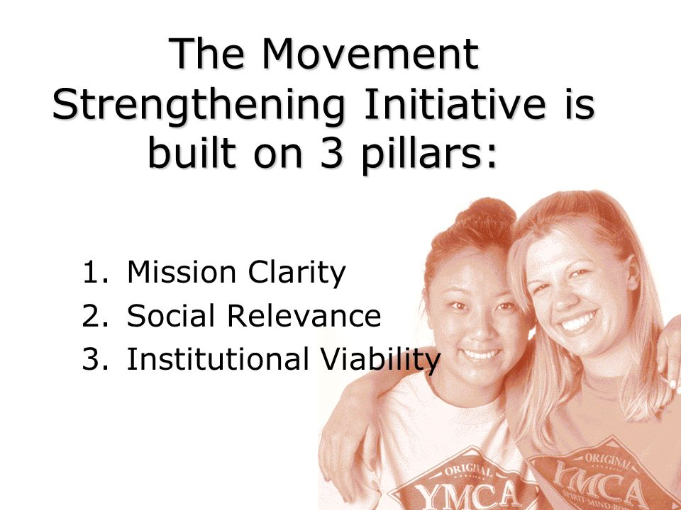 The Movement Strengthening Initiative is built on 3 pillars: 1.Mission Clarity 2.Social Relevance 3.Institutional Viability