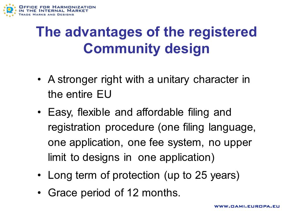 Registered or Unregistered Community Design RCD - exclusive right to use and prevent: making, offering, putting on the market, importing, exporting, using or stocking for such purposes, products incorporating the design UCD - right to prevent only if use results from copying Rights conferred: Differences (2)