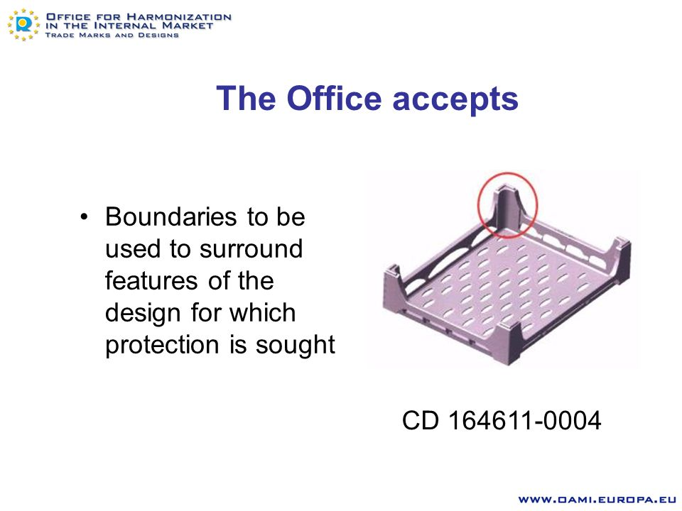 The Office accepts Dotted lines to indicate the elements for which no protection is sought or to indicate portions of the design which are not visible in that particular view, i.e.
