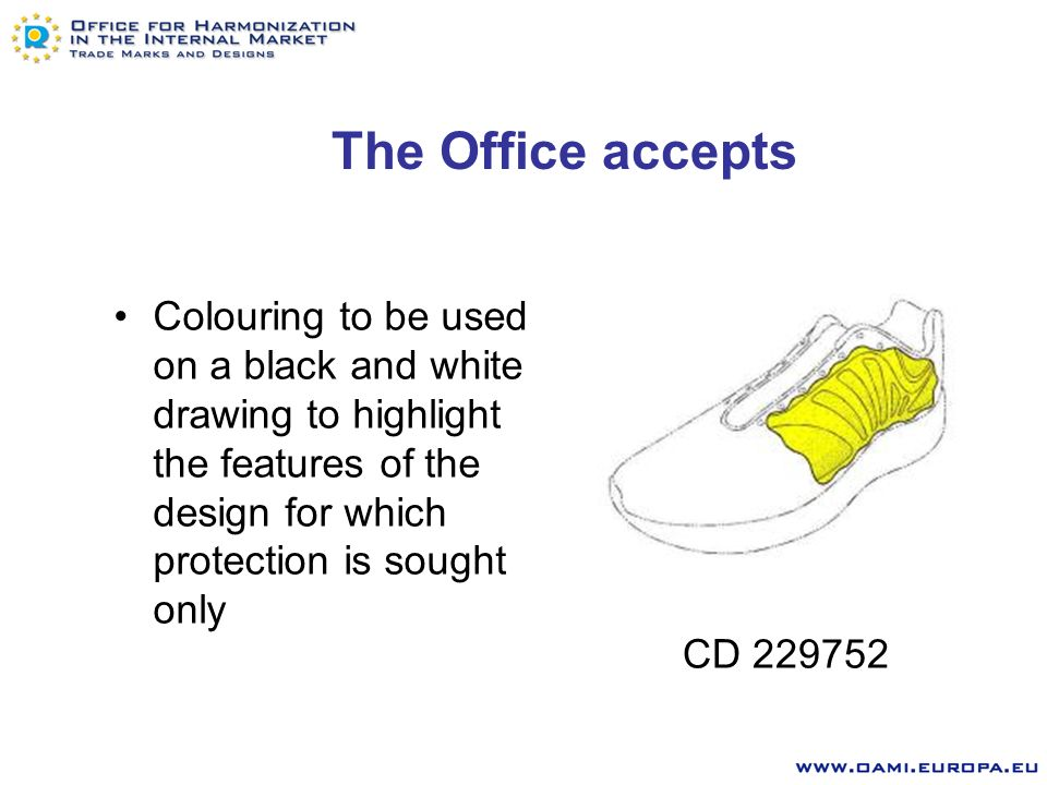 The Office accepts Boundaries to be used to surround features of the design for which protection is sought CD