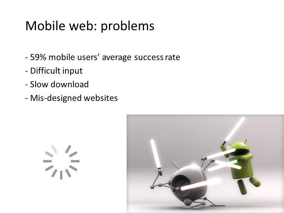 Mobile web: problems - 59% mobile users average success rate - Difficult input - Slow download - Mis-designed websites