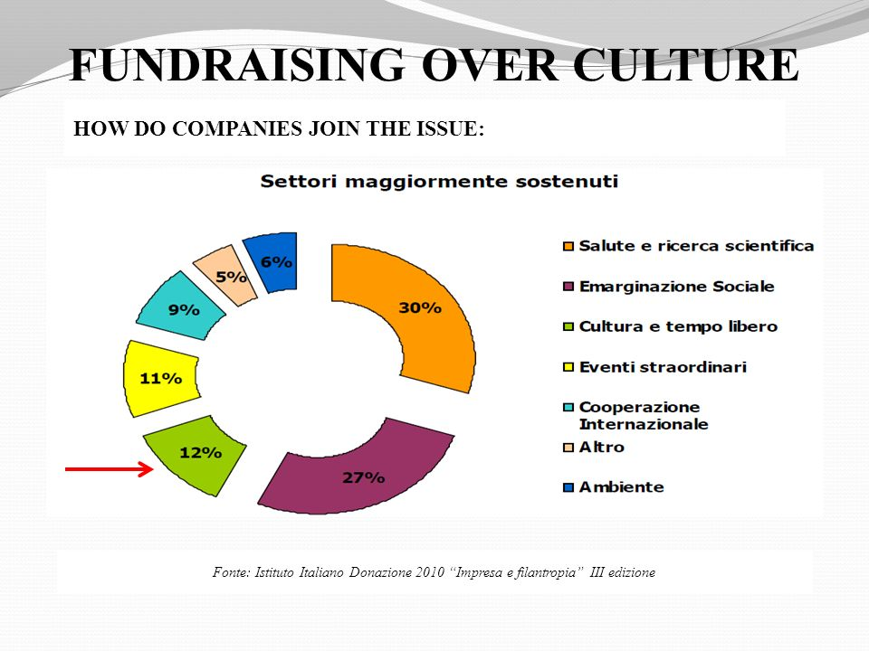 FUNDRAISING OVER CULTURE Fonte: Istituto Italiano Donazione 2010 Impresa e filantropia III edizione HOW DO COMPANIES JOIN THE ISSUE: