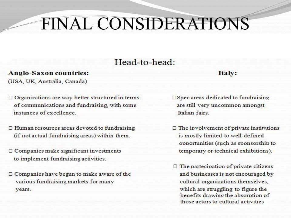 FINAL CONSIDERATIONS