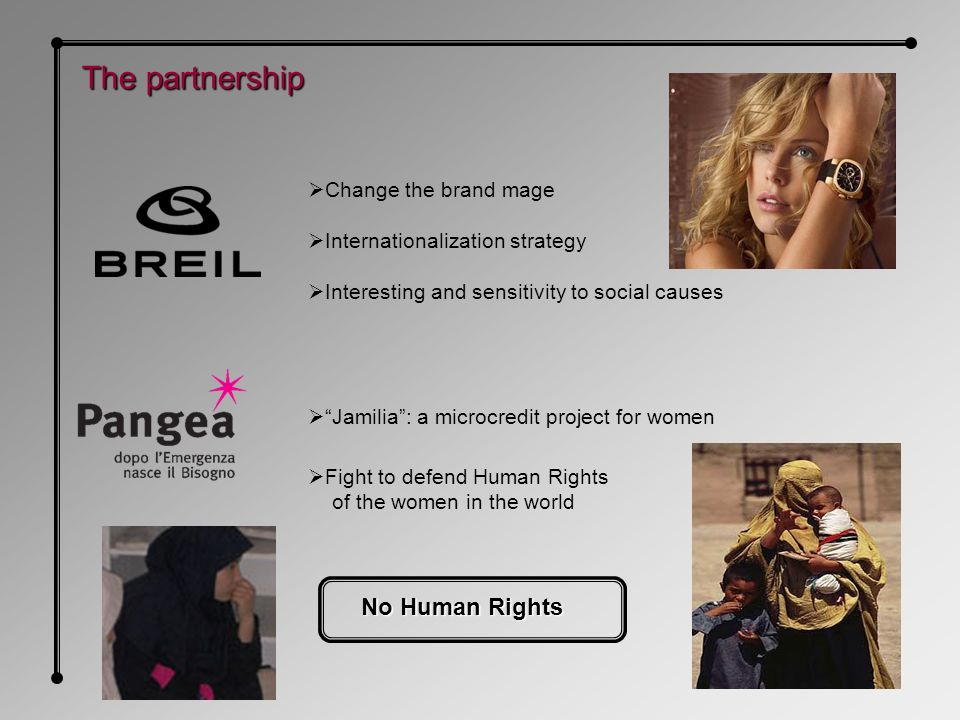 Jamilia: a microcredit project for women The partnership Change the brand mage Internationalization strategy Interesting and sensitivity to social causes Fight to defend Human Rights of the women in the world No Human Rights