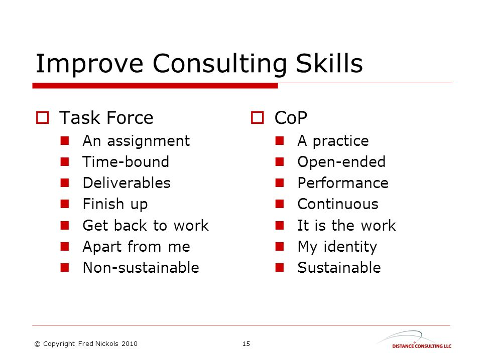 Improve Consulting Skills Task Force An assignment Time-bound Deliverables Finish up Get back to work Apart from me Non-sustainable CoP A practice Open-ended Performance Continuous It is the work My identity Sustainable 15© Copyright Fred Nickols 2010