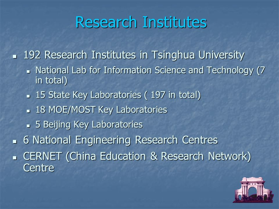192 Research Institutes in Tsinghua University 192 Research Institutes in Tsinghua University National Lab for Information Science and Technology (7 in total) National Lab for Information Science and Technology (7 in total) 15 State Key Laboratories ( 197 in total) 15 State Key Laboratories ( 197 in total) 18 MOE/MOST Key Laboratories 18 MOE/MOST Key Laboratories 5 Beijing Key Laboratories 5 Beijing Key Laboratories 6 National Engineering Research Centres 6 National Engineering Research Centres CERNET (China Education & Research Network) Centre CERNET (China Education & Research Network) Centre Research Institutes