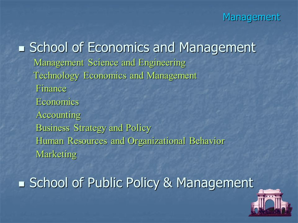 Management School of Economics and Management School of Economics and Management Management Science and Engineering Management Science and Engineering Technology Economics and Management Technology Economics and Management Finance Finance Economics Economics Accounting Accounting Business Strategy and Policy Business Strategy and Policy Human Resources and Organizational Behavior Human Resources and Organizational Behavior Marketing Marketing School of Public Policy & Management School of Public Policy & Management