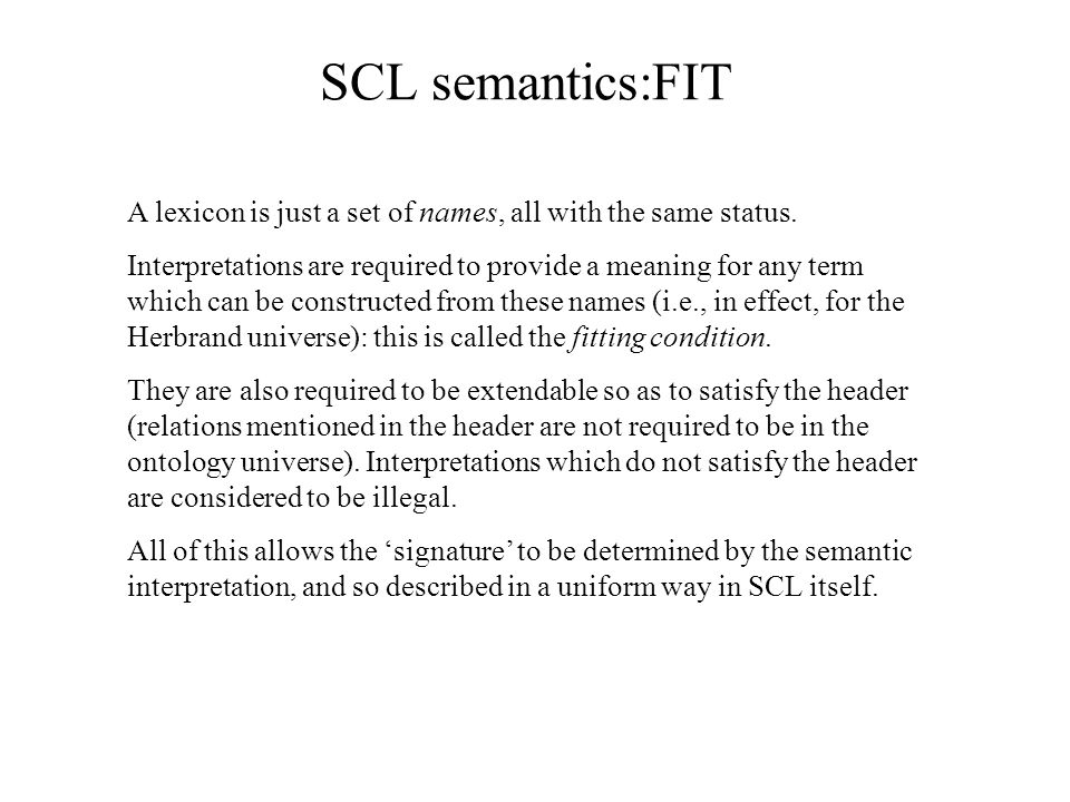 SCL semantics:FIT A lexicon is just a set of names, all with the same status.