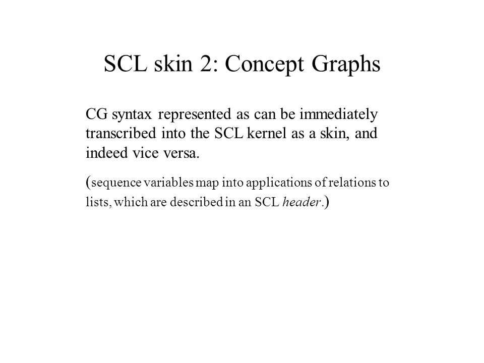 SCL skin 2: Concept Graphs CG syntax represented as can be immediately transcribed into the SCL kernel as a skin, and indeed vice versa.