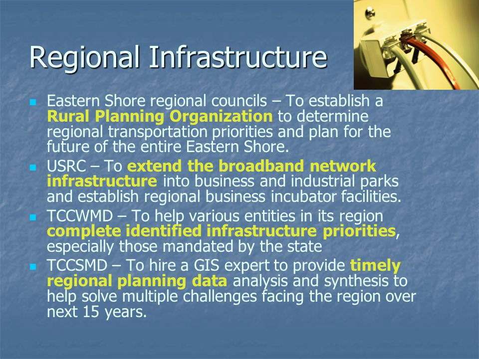 Regional Infrastructure Eastern Shore regional councils – To establish a Rural Planning Organization to determine regional transportation priorities and plan for the future of the entire Eastern Shore.