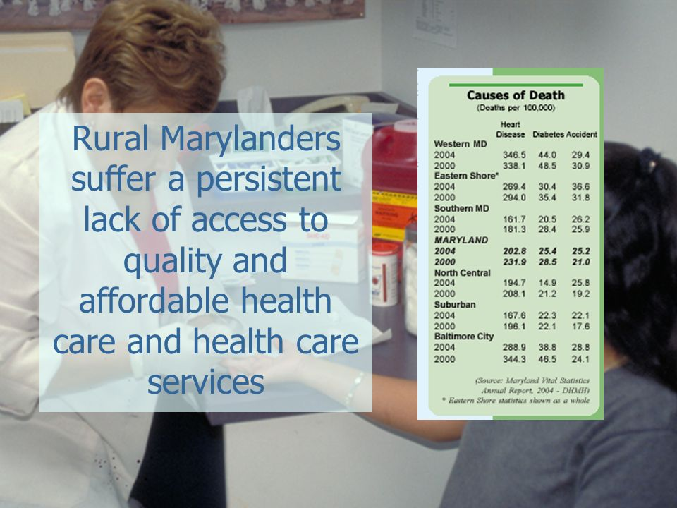 Rural Marylanders suffer a persistent lack of access to quality and affordable health care and health care services