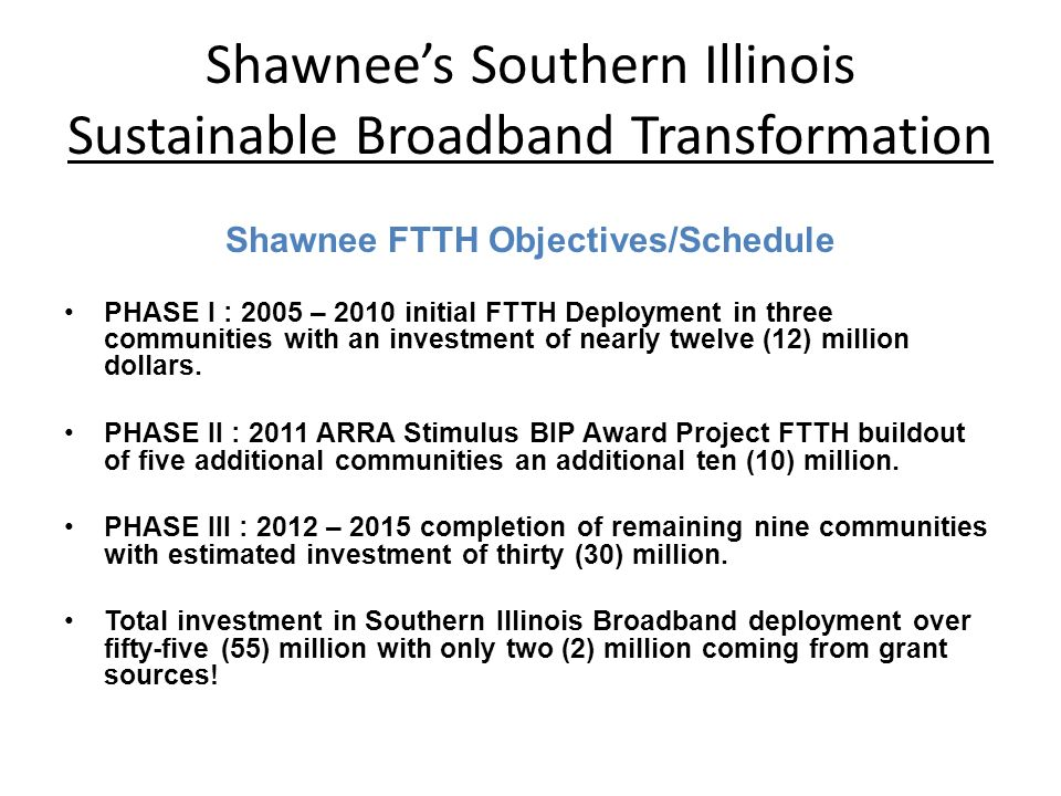 Shawnee FTTH Objectives/Schedule PHASE I : 2005 – 2010 initial FTTH Deployment in three communities with an investment of nearly twelve (12) million dollars.