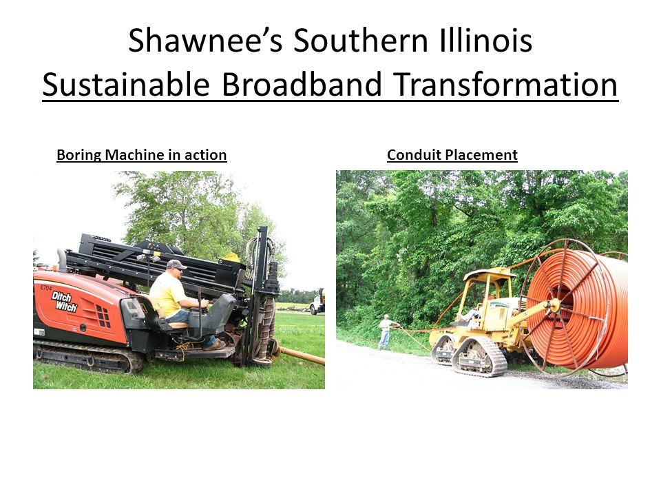 Shawnees Southern Illinois Sustainable Broadband Transformation Boring Machine in actionConduit Placement