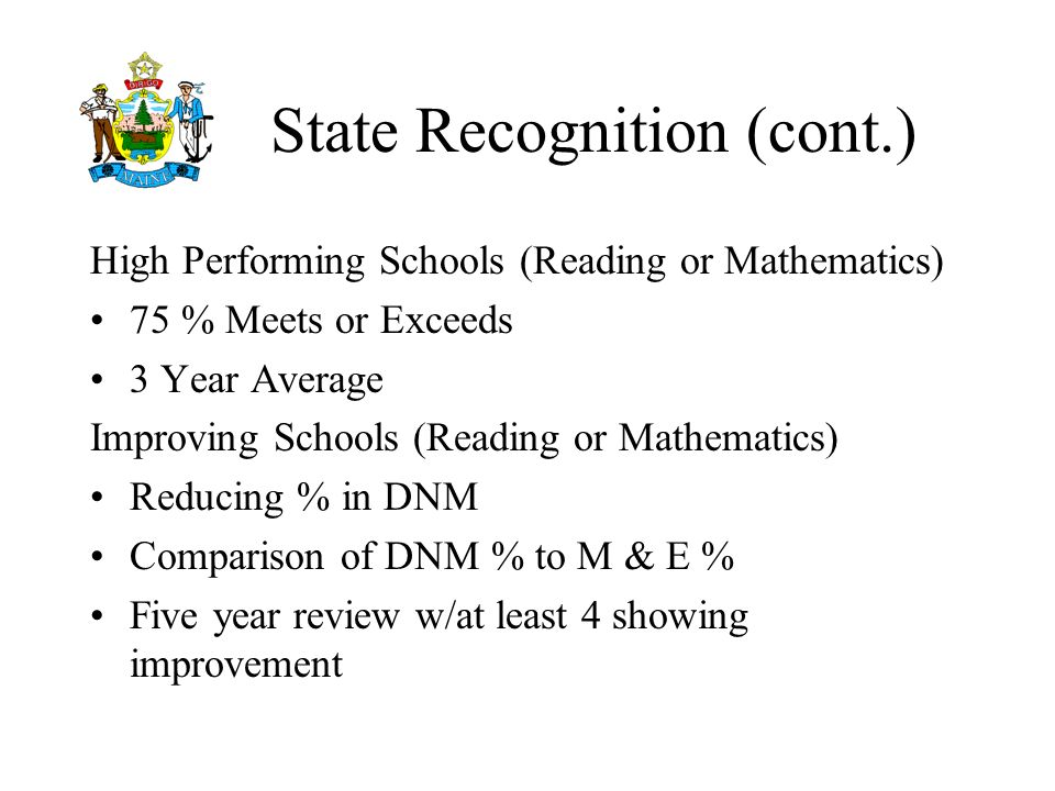 State Recognition (cont.) High Performing Schools (Reading or Mathematics) 75 % Meets or Exceeds 3 Year Average Improving Schools (Reading or Mathematics) Reducing % in DNM Comparison of DNM % to M & E % Five year review w/at least 4 showing improvement
