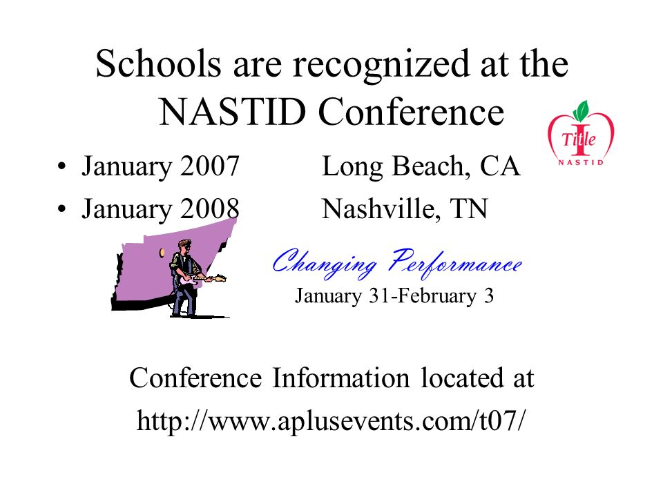 Schools are recognized at the NASTID Conference January 2007Long Beach, CA January 2008Nashville, TN Conference Information located at http://www.aplusevents.com/t07/ Changing Performance January 31-February 3