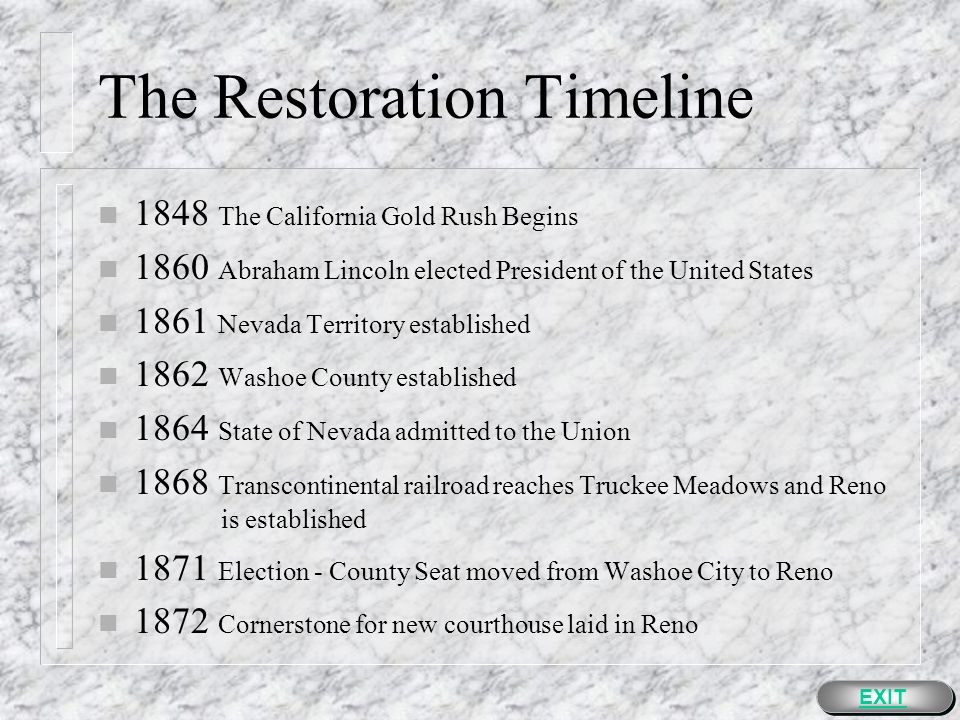The Restoration n The restoration is a challenge.