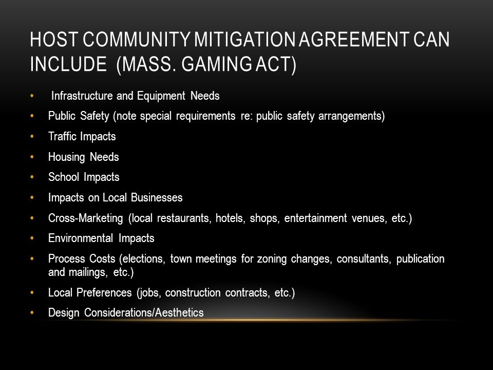 HOST COMMUNITY MITIGATION AGREEMENT CAN INCLUDE (MASS.