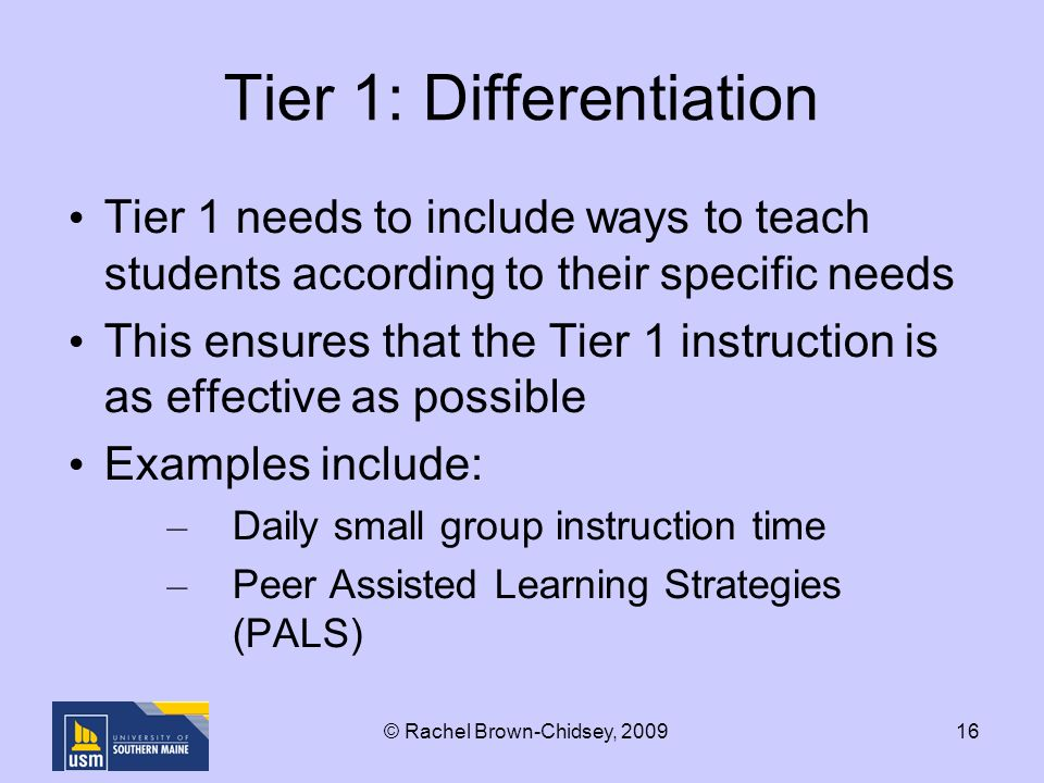 16 Tier 1: Differentiation Tier 1 needs to include ways to teach students according to their specific needs This ensures that the Tier 1 instruction is as effective as possible Examples include: – Daily small group instruction time – Peer Assisted Learning Strategies (PALS) © Rachel Brown-Chidsey, 2009