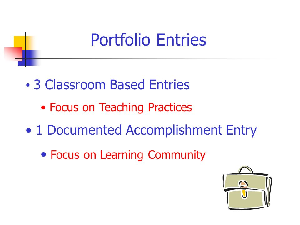 Portfolio Entries 3 Classroom Based Entries Focus on Teaching Practices 1 Documented Accomplishment Entry Focus on Learning Community
