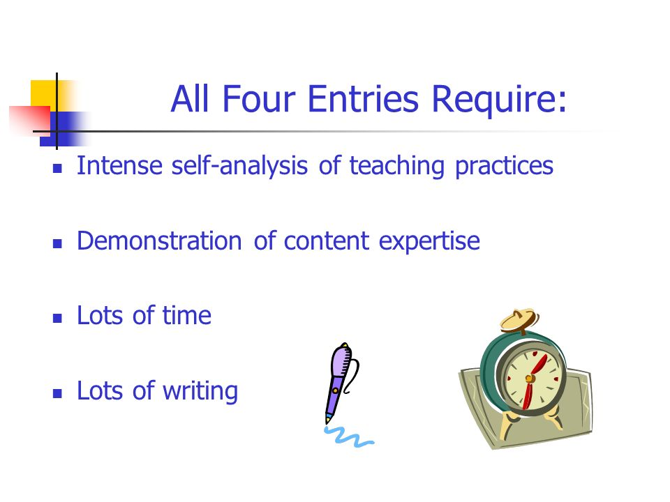 All Four Entries Require: Intense self-analysis of teaching practices Demonstration of content expertise Lots of time Lots of writing